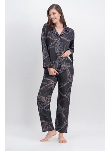 Arnetta Arnetta Chain Siyah Kadın Saten Gömlek Pijama Siyah